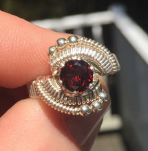 Load image into Gallery viewer, Classic Bead Wire Wrapped Almandine Garnet Ring