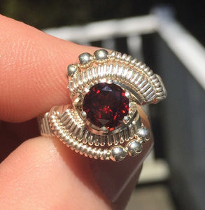 Classic Bead Wire Wrapped Almandine Garnet Ring