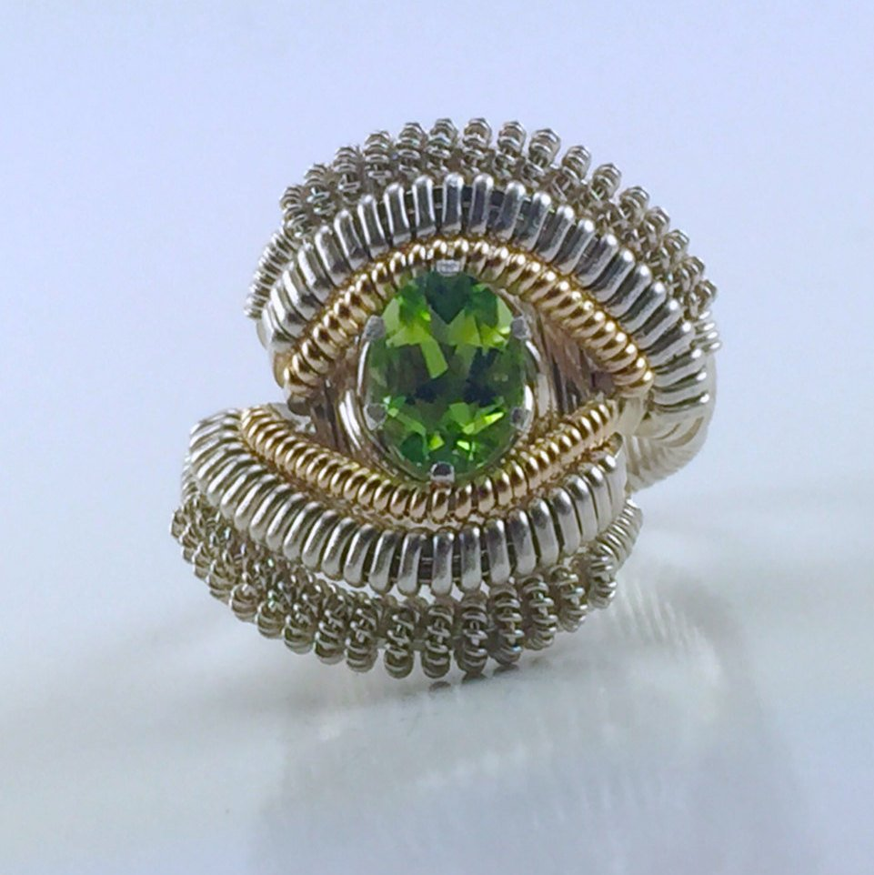 Coil Wire Wrapped German Peridot Ring