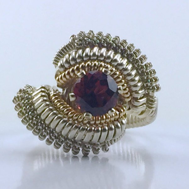 Coil Wire Wrapped Almandine Garnet Ring