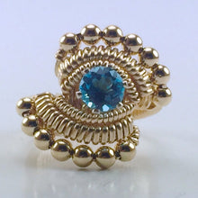 Load image into Gallery viewer, Beaded Swiss Blue Topaz Ring