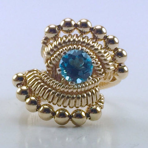 Beaded Swiss Blue Topaz Ring