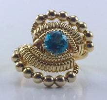 Load image into Gallery viewer, Gold Wire Wrapped Thai Swiss Blue Topaz Ring (Size 6.5) Argentium Silver 14 Karat Gold Filled Wire Wrapped Jewelry