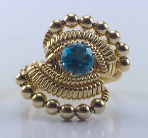 Gold Wire Wrapped Thai Swiss Blue Topaz Ring (Size 6.5) Argentium Silver 14 Karat Gold Filled Wire Wrapped Jewelry