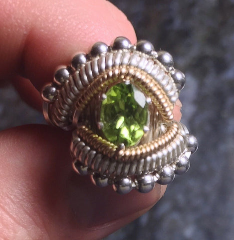 Beaded Wire Wrapped Peridot Ring Oval Gemstone
