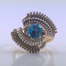 Load image into Gallery viewer, Wire Wrapped Thai Swiss Blue Topaz Ring (Size 5) Argentium Silver 14 Karat Gold Filled Wire Wrapped Jewelry