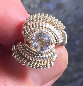 Coil Wire Wrapped White Topaz Ring