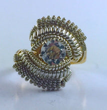 Load image into Gallery viewer, Coil Wire Wrapped White Topaz Ring