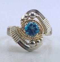 Load image into Gallery viewer, Wire Wrapped Swiss Blue Topaz Ring (Size 6)