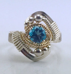 Wire Wrapped Swiss Blue Topaz Ring (Size 6)