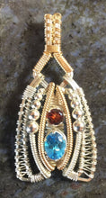 Load image into Gallery viewer, Wire Wrapped Pendant (Swiss Blue Topaz, Almandine Garnet)