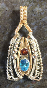 Wire Wrapped Pendant (Swiss Blue Topaz, Almandine Garnet)