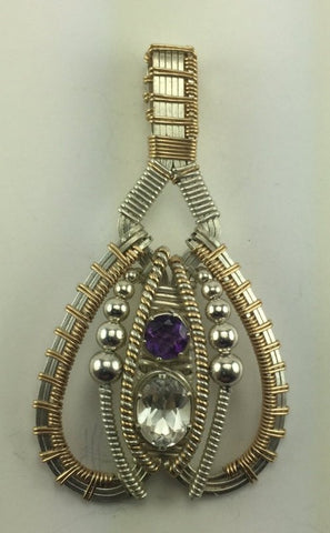 Wire Wrapped Pendant (White Topaz, African Amethyst)
