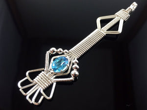 Thai Blue Topaz Wire Wrapped Pendant Argentium Silver and Gemstone Wire Wrapped Jewelry
