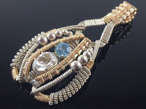 White Topaz and Swiss Blue Topaz Coiled Amulet