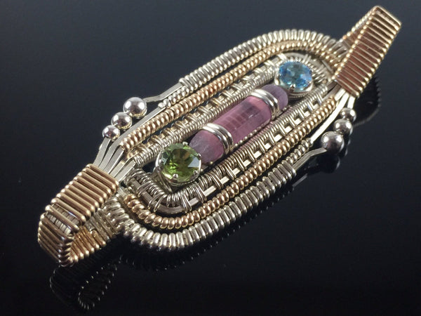 Wire Wrapped Reversable Pendant (Pink Tourmaline, Swiss Blue Topaz, Peridot)
