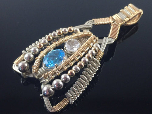 Swiss Blue Topaz and White Topaz Coiled Amulet
