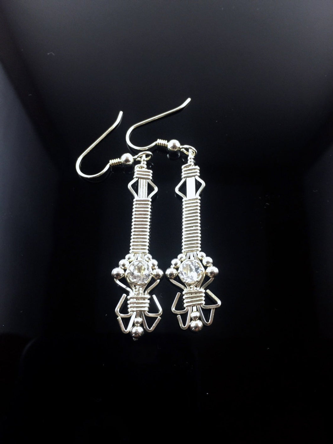 Wire Wrapped Fine Silver White Topaz Gemstone Drop/Dangle Earrings