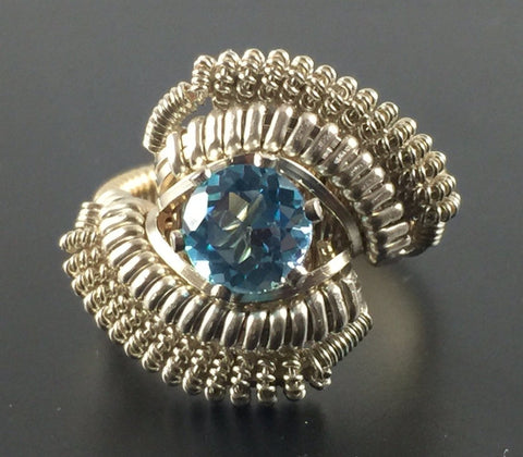 Wire Wrapped Thai Swiss Blue Topaz Ring (Size 5) Argentium Silver 14 Karat Gold Filled Wire Wrapped Jewelry