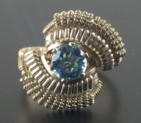 Wire Wrapped Thai Swiss Blue Topaz Ring (Size 6) Argentium Silver 14 Karat Gold Filled Wire Wrapped Jewelry