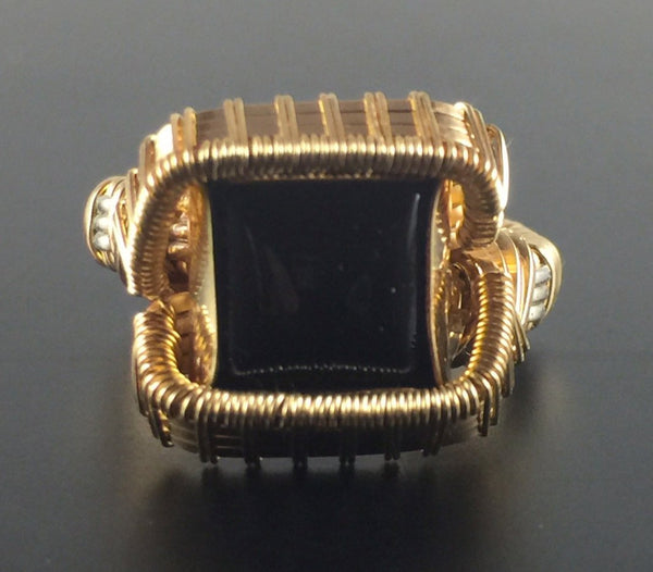 Wire Wrapped Black Onyx Ring (Size 7) 14 karat gold filled wire argentium silver wire wrapped jewelry