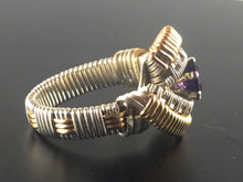 Load image into Gallery viewer, Spartan Pattern Band Wrapped African Amethyst Ring