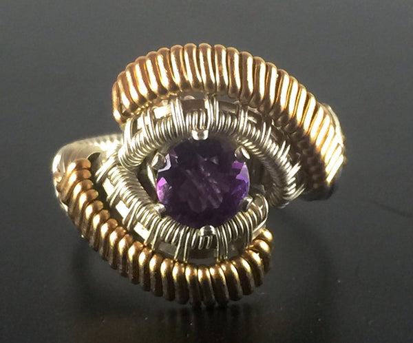 Spartan Pattern Band Wrapped African Amethyst Ring