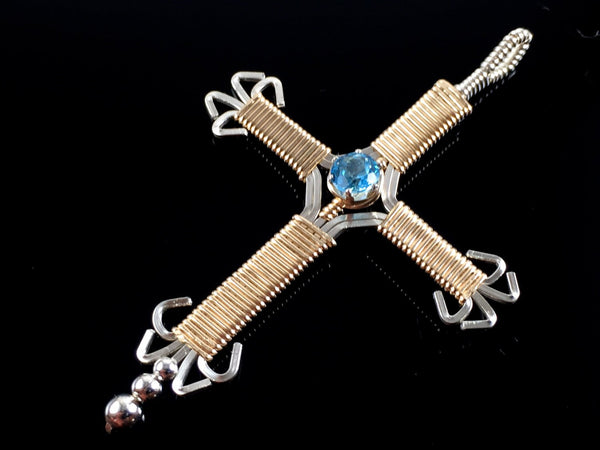 Wire Wrapped Gold and Silver Thai Swiss Blue Topaz Ornate Cross