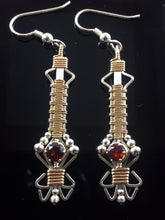 Load image into Gallery viewer, Wire Wrapped Natural Indian Almandine Garnet Gemstone Drop and Dangle Earrings Precious Metal Wire Wrapped Jewelry