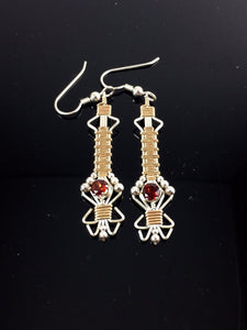 Wire Wrapped Natural Indian Almandine Garnet Gemstone Drop and Dangle Earrings Precious Metal Wire Wrapped Jewelry
