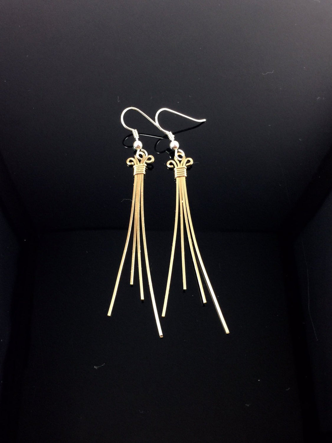 Gold Earrings Wire Wrapped Jewelry Drop Dangle Wire Earrings Hand Made Precious Metal Earrings