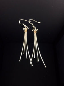 Silver Earrings With Gold Accents Wire Wrapped Jewelry Hand Made Precious Metal Jewelry