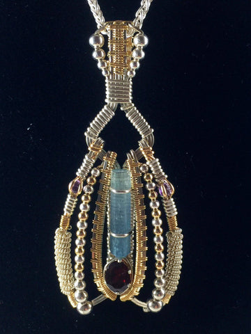 Wire Wrapped Natural Aquamarine And Almandine Garnet Gemstone Ornate Pendant Argentium Silver Hand Made Wire Wrapped Jewelry