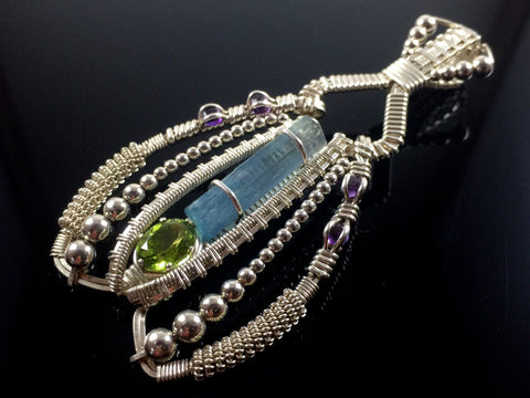 Vietnamese Aquamarine and German Peridot Coiled Amulet
