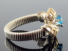 Load image into Gallery viewer, Tribe Swiss Blue Topaz Wire Wrapped Ring