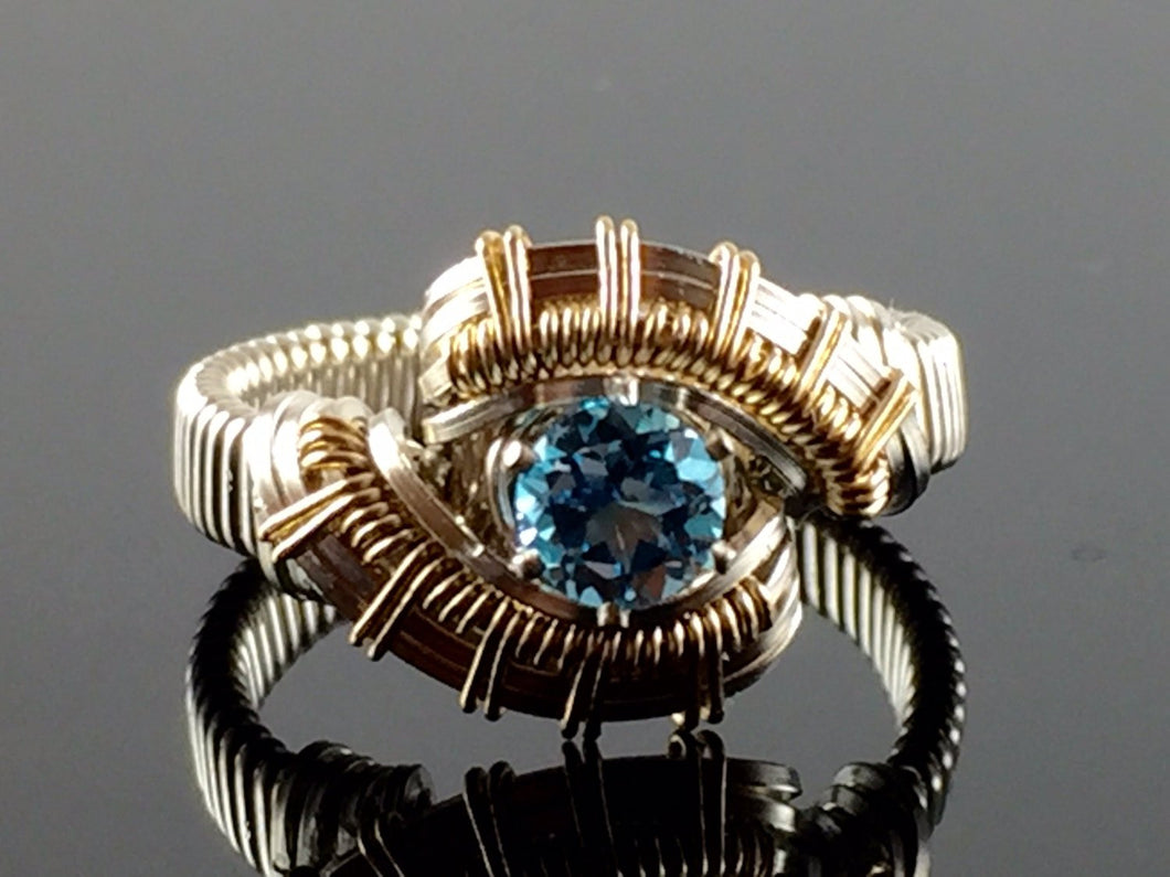 Tribe Swiss Blue Topaz Wire Wrapped Ring