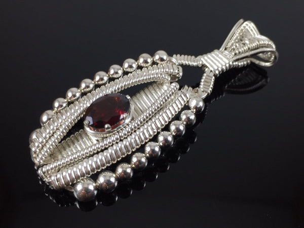 Almandine Garnet Wire Wrapped Pendant Argentium Silver Wire Wrapped Jewelry