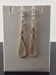 Gold Dangle and Drop Wire Wrapped Earrings 14 Karat Yellow Gold Filled Earrings