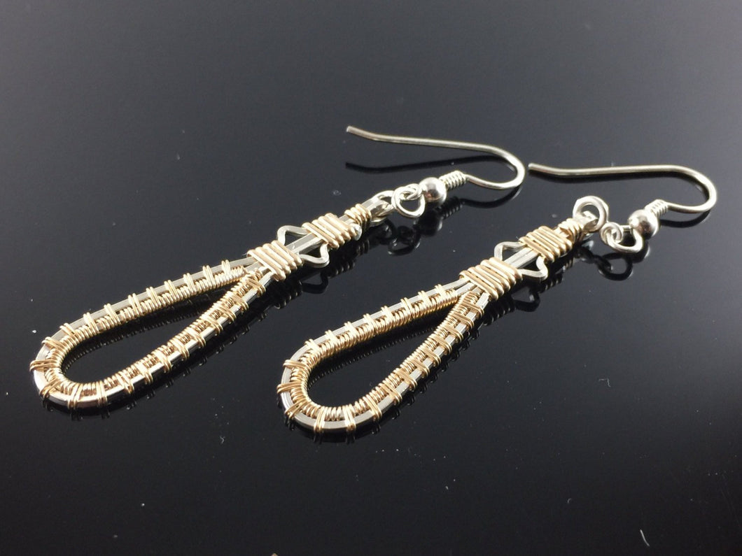 Silver and Gold Drop and Dangle Wire Wrapped Earrings Argentium Silver and 14 Karat Yellow Gold Filled Wire Wrapped Earrings