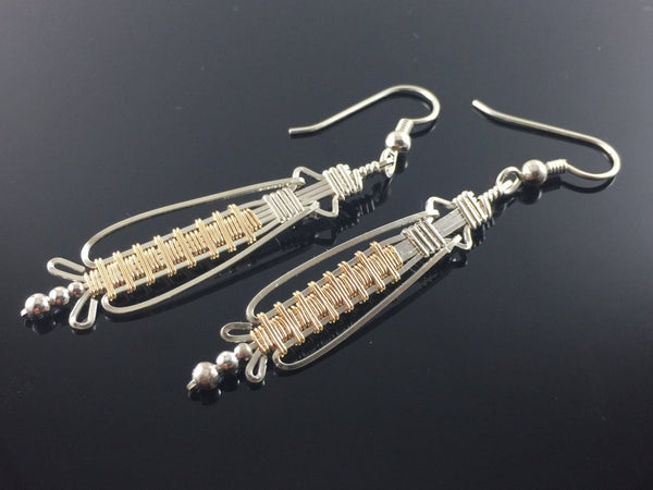 Silver and Gold Dangle and Drop Earrings Argentium Silver and 14 Karat Yellow Gold Filled Wire Wrapped Jewelry