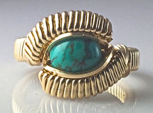 Load image into Gallery viewer, Gold Chinese Turquoise Wire Wrapped Ring 14 Karat Yellow Gold Filled Wire Hand Wrapped Ring