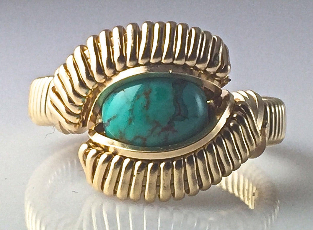 Gold Chinese Turquoise Wire Wrapped Ring 14 Karat Yellow Gold Filled Wire Hand Wrapped Ring