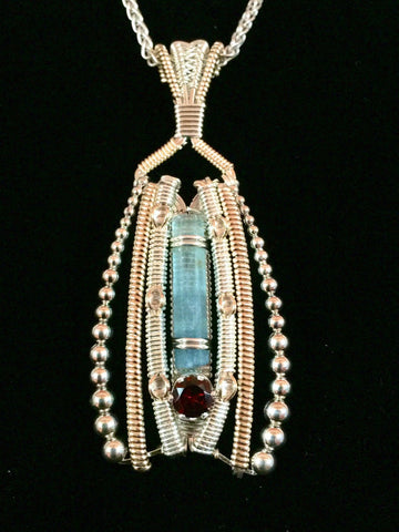 Aqua, Garnet and Topaz Beaded Amulet