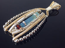Load image into Gallery viewer, Aqua, Garnet and Topaz Beaded Amulet