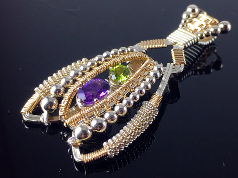 Amethyst and Peridot Coiled Amulet