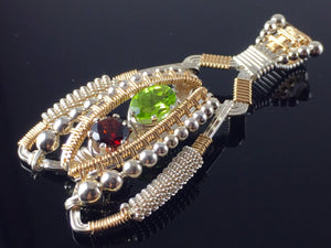 Peridot and Garnet Coiled Amulet