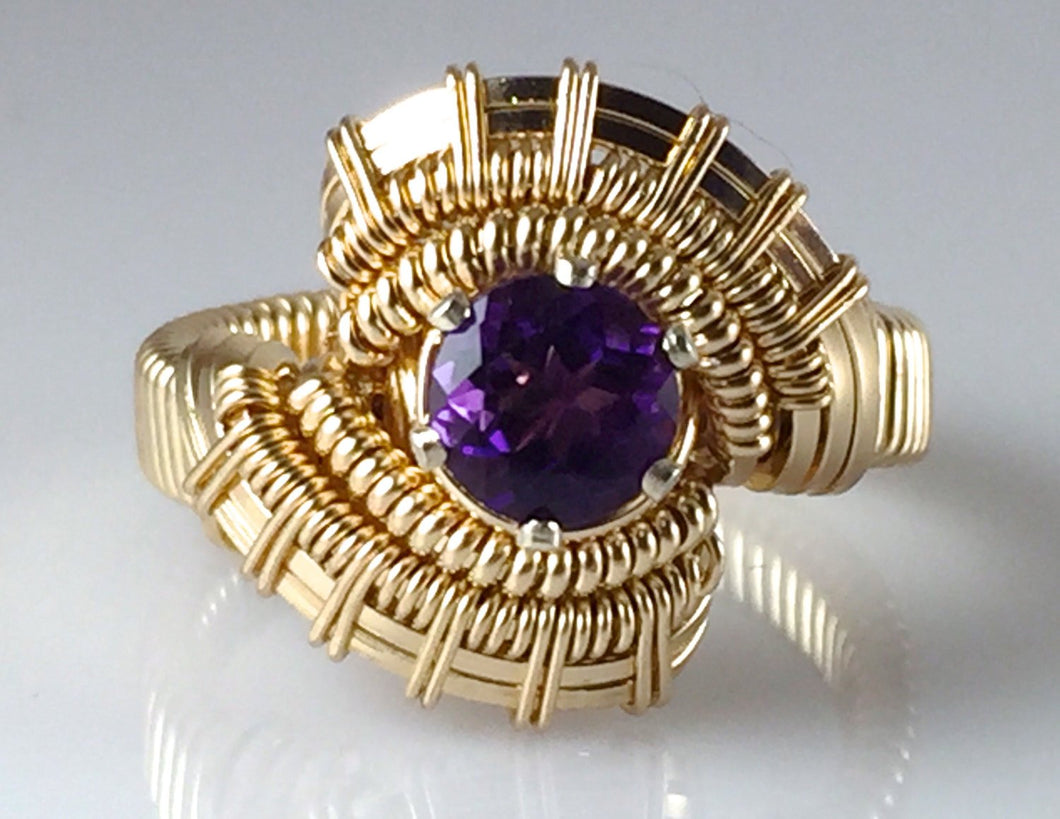 Tribe Gold Amethyst Gemstone Wire Wrapped Ring