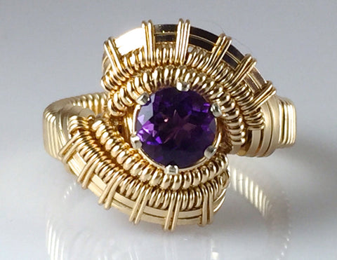 Pulse Gold Amethyst Gemstone Wire Wrapped Ring