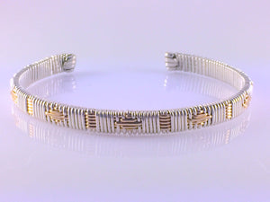 Cuff Bracelet Gold and Silver Pattern Unisex Small/Medium Argentium Silver and 14 Karat Yellow Gold Filled Wire Wrapped Jewelry
