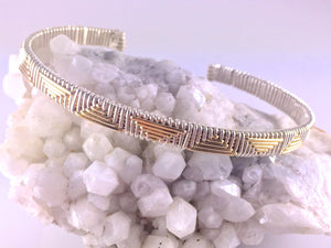 Cuff Bracelet Gold Silver Pattern Unisex Argentium Silver and 14 Karat Yellow Gold Filled Wire Wrapped Jewelry